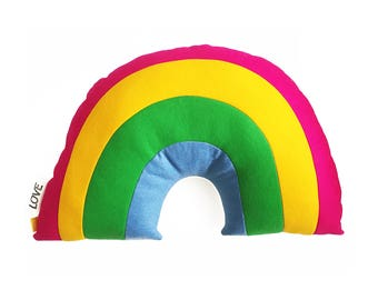 Big rainbow pillow-wool felt, organic cotton sherpa, soft, love label