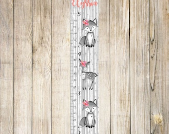 Girl Woodland Animals Growth Chart