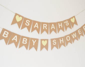 Personalised Baby Shower Bunting, Custom Banner, Baby Shower Decorations, Name Bunting