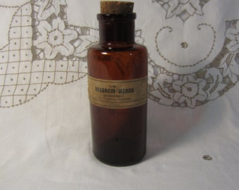 VTG 1920's Apothocary Brown Bottle from Merck & Co with Original Cork