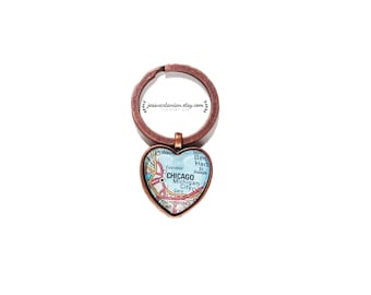 Chicago Map Heart Keychain. Or Any Location.