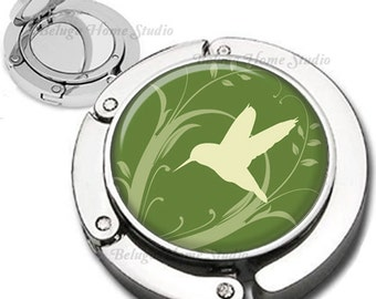 Hummingbird in Sage Green Foldable Purse Hook Bag Hanger Compact Mirror