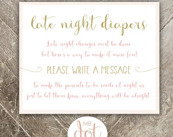 Late Night Diapers Game - Once Upon a Time Baby Shower - Pink and Gold - Baby Shower Game