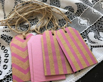 Gift Tags - Pink, Stripes, Chevron, Girls Birthday (6 pack)