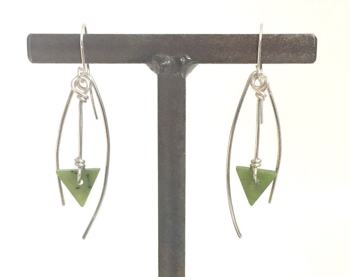 Serpentine and Sterling Silver Earrings
