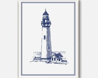 Ocean Wall decor, Lighthouse print, Boat Decor, Lighthouse printable,Boat Art, Seamen gift, Nautical drawing, lighthouse poster, Digital