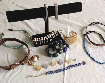 FREE Shipping, Jewelry Lot, 13 pc. Jewelry Lot, Bracelets, Head Bands, Brooch
