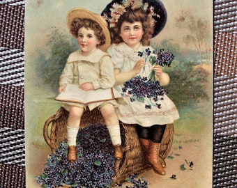 Vintage Tuck Postcard - Loving Birthday Greeting, Children, Series 14
