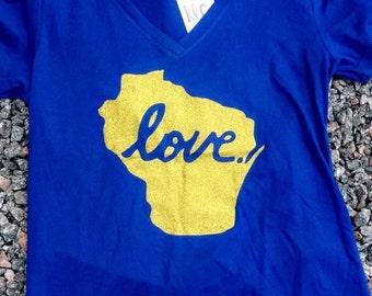 BREWER BLUE BLING wisconsin love tshirt