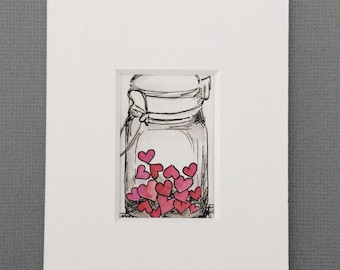 collected love: original, tiny, drawing of hearts contained in a mason jar using ink and watercolor