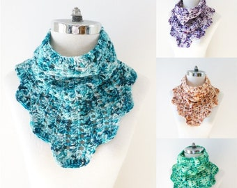Modern Lace Cowl Scarf available in various colours, blue, purple, orange and green, cowl scarf, Woman's scarf, lace scarf, gift for her