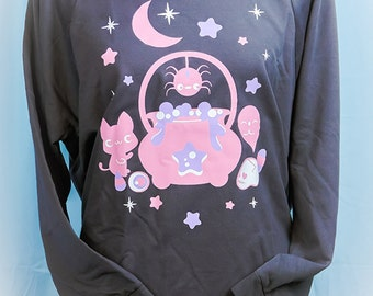 Witches Brew Cauldron Kitty, Spider, and Ghost 3/4 Sleeve Wideneck Sweatshirt Kawaii Fairy Kei Pastel Goth