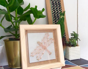 Copper wire dragonfly framed wall art