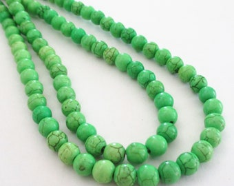 "Green Howlite Beads - Light Green Gemstone Beads - Smooth Round Ball Drilled Stone - Dark Matrix - 16"" Strand - 6mm - DIY Bulk Beads Options"