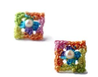 Crochet Earrings Mini Granny Square Studs Earrings Yellow Spring Green Purple Pink Peach Blue