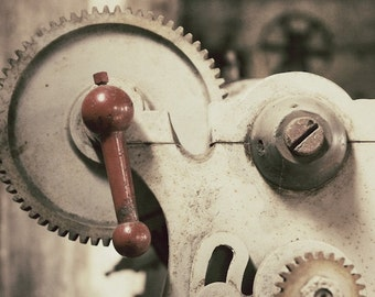 Industrial Gear Photo, Antique Machinery Photography, Red and Cream Gears