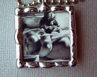 Photo Charm, soldered glass pendant, wedding, personalized gift, custom made picture frame pendant, two sided, New mothers gift