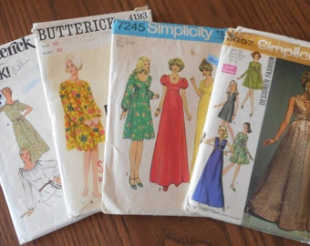 Vintage Womens Dress Patterns; 1960 Sizes 10 and 8-18