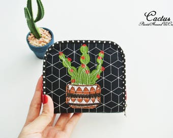 Cactus Lovers(A) Mini Wallet, Small Bi-fold Organizer Wallet, Zipper Coin Wallet, Fabric Coin Purse, Small Wallet, Gift for Her