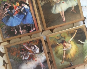 COASTERS! Edgar Degas Ballerina coasters with gold trim