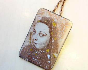 Glass Enamel on Copper, Personalized, Memento, Phototransfer Collage, Vintage Photograph Necklace, Shirley Pendant
