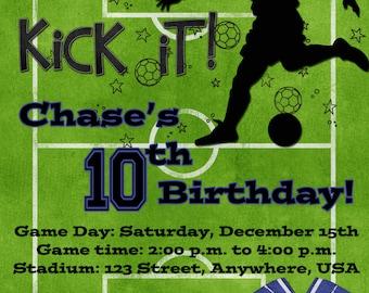Soccer Birthday Party Invitation - Blue