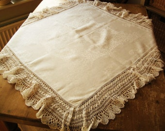 "FREE POST UK Antique 36"" Edwardian Cotton Lace Tablecloth,  Vintage Lace Tablecloth, Hand-made Lace, Downton Abbey"