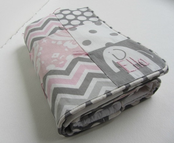 Baby Girl Blanket Personalized Hand Embroidered with Custom Name Quilt ~ Pink Grey White Elephants Damask Dots Chevron ~ Nursery Decor