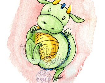 Baby Dragon Holding Tail Greeting Card