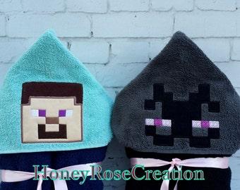 Hooded towel.Steve, Enderman hooded towel.