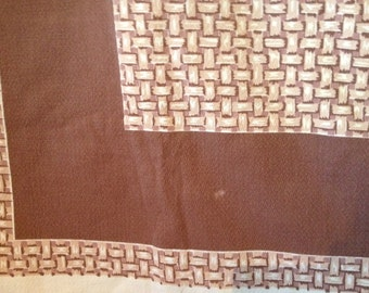 """Vintage 1950s Tablecloth~50x 62""""~Startex~Brown & Beige Intricate Bamboo Pattern"""