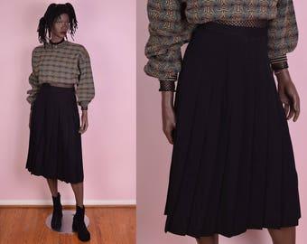 80s Black Pleated Wool Skirt/ US 8/ 25.5 Waist/ 1980s