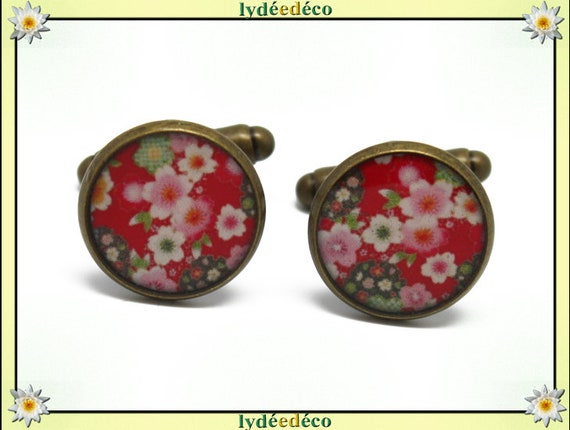2 retro suit cuff links 14mm bronze brass Japan sakura cherry blossom pink green red resin