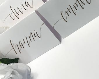 Wedding Name Cards | Gold Silver Black Rose Gold | Custom Place Cards | Calligraphy | Event Place Card | Weddings | Custom Wedding Decor