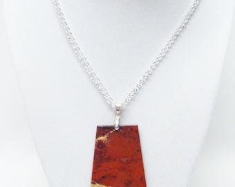 """Red Jasper Semi-Precious Stone Pendant Necklace (19.5"""",No Stone, Silver Plated)"""