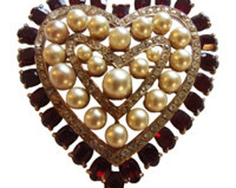 Pearl And Rhinestone Heart Pin/Brooch Vintage 1950 Heart Jewelry Bridal Pin 40'S 50'S Retro
