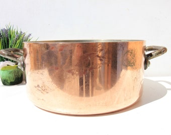 3MM Large heavy French Copper cooking pot ,casserole pot,iron handles,tin lining