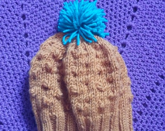 Knitted Copper Popcorn Hat