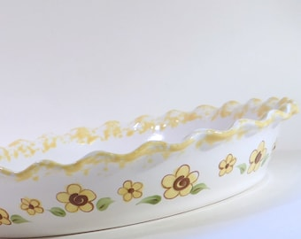 Sunflower Pie Dish - Personalized Pie Plate - Ceramic Sunflower Pie Plate - Personalized Deep Dish : personalized pie plate - pezcame.com