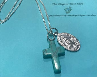 Miraculous Medal and Beautiful Teal Cross Necklace