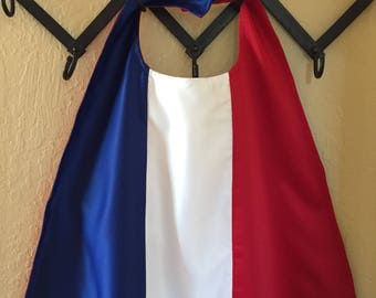 "Adult Mid-Length (37"") Flag Cape - French Flag showen"