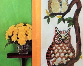 Vintage Crewel Kit, Tree Owls, Owls Wall Hanging, Stitchery Kit, Avon Needlecraft Kit, 1970s Crafting, Crewel Embroidery Kit, Owl Embroidery