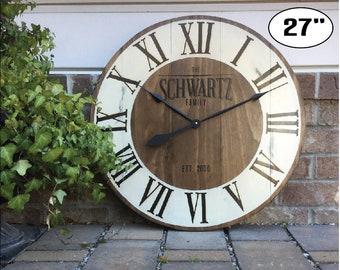 "Large Wall Clock, Custom Clocks, Best Wedding Present, Personalized clock, Big clock, Wedding gift, Oversized Wall Clocks, 27"" Wall Clock"