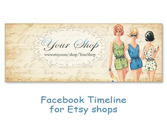 Personalized Facebook Timeline Banner Cover with Vintage Girl with flowers- Digital Download - FASHION FACEBOOK TIMELINE