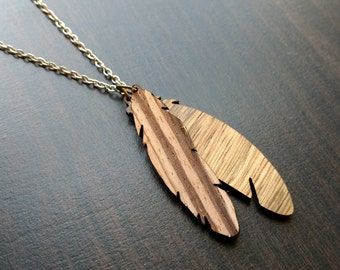 Laser Cut  Feather Necklace