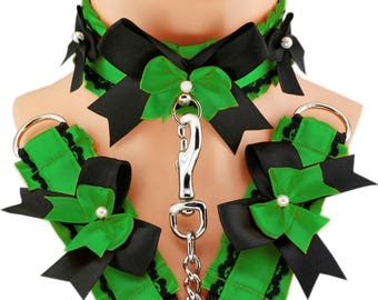 Green set kitten play collar cuffs and leash choker ddlg collar gothic punk kittenplay steampunk bdsm bracelet collar kitten goth T6