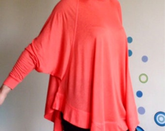 Plus Size tunic/Oversize top/Long sleeve tunic / Blouse/High Collar Loose tunic