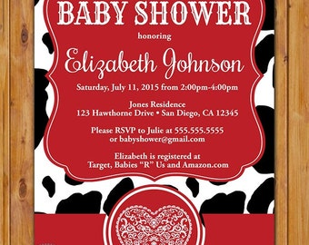 Cow Print Baby Shower Party Invitation Black White Red Invite Be Not Moved Whimiscal Heart Printable 5x7 Digital JPG (53)