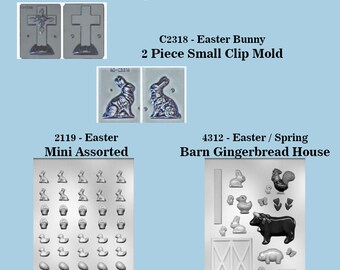 Easter Holiday Molds - 3D Clip Molds - Bunny, Cross, Assorted Mini, Gingerbread House - Plastic for crafts, chocolate, sugar craft, etc.