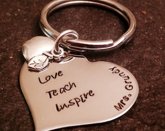 Love teach inspire keychain with apple charm perfect gift for a teacher